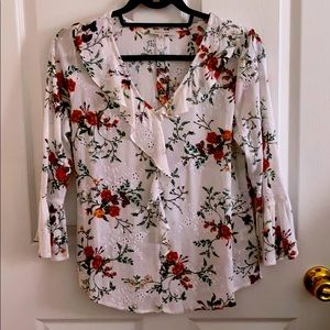 WHITE FLORAL RUFFLED DETAILED BLOUSE W EMBROIDERY